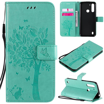 Embossing Butterfly Tree Leather Wallet Case for Motorola Moto G8 Power Lite - Cyan