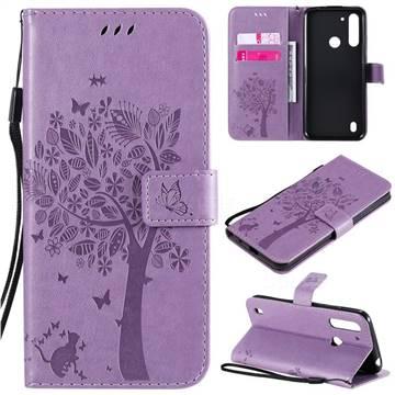 Embossing Butterfly Tree Leather Wallet Case for Motorola Moto G8 Power Lite - Violet