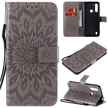 Embossing Sunflower Leather Wallet Case for Motorola Moto G8 Power Lite - Gray