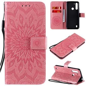 Embossing Sunflower Leather Wallet Case for Motorola Moto G8 Power Lite - Pink
