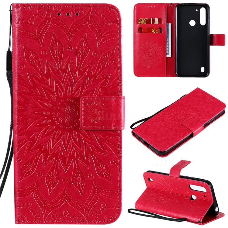Embossing Sunflower Leather Wallet Case for Motorola Moto G8 Power Lite - Red