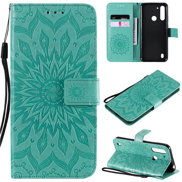 Embossing Sunflower Leather Wallet Case for Motorola Moto G8 Power Lite - Green