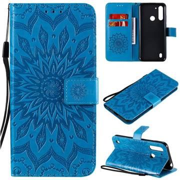 Embossing Sunflower Leather Wallet Case for Motorola Moto G8 Power Lite - Blue