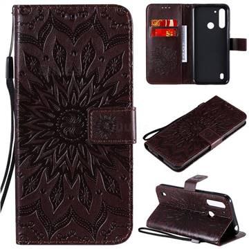 Embossing Sunflower Leather Wallet Case for Motorola Moto G8 Power Lite - Brown