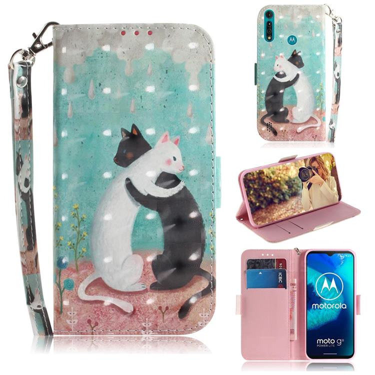 Black and White Cat 3D Painted Leather Wallet Phone Case for Motorola Moto G8 Power Lite