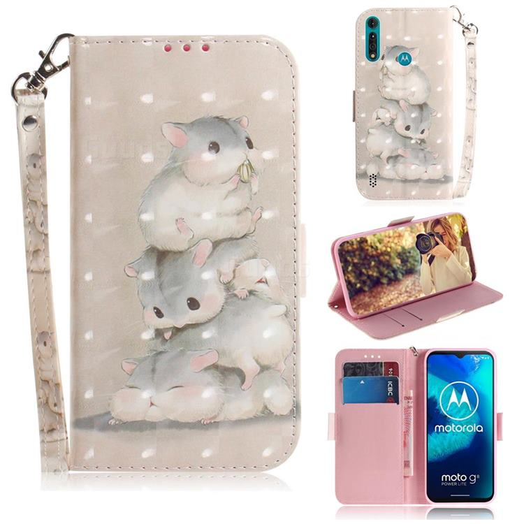 Three Squirrels 3D Painted Leather Wallet Phone Case for Motorola Moto G8 Power Lite