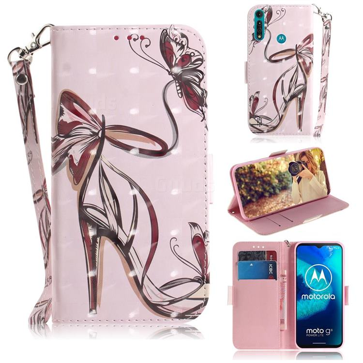 Butterfly High Heels 3D Painted Leather Wallet Phone Case for Motorola Moto G8 Power Lite