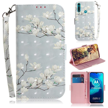 Magnolia Flower 3D Painted Leather Wallet Phone Case for Motorola Moto G8 Power Lite