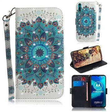 Peacock Mandala 3D Painted Leather Wallet Phone Case for Motorola Moto G8 Power Lite