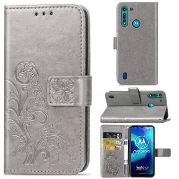 Embossing Imprint Four-Leaf Clover Leather Wallet Case for Motorola Moto G8 Power Lite - Grey