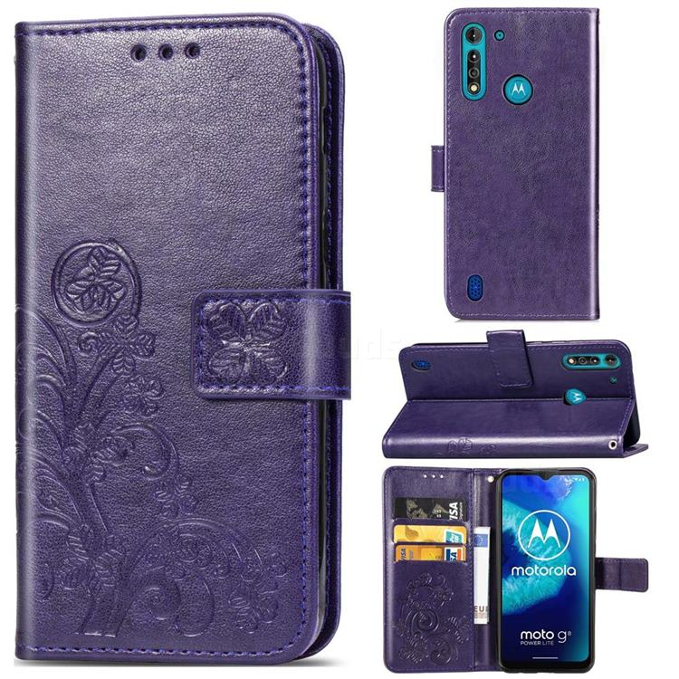 Embossing Imprint Four-Leaf Clover Leather Wallet Case for Motorola Moto G8 Power Lite - Purple