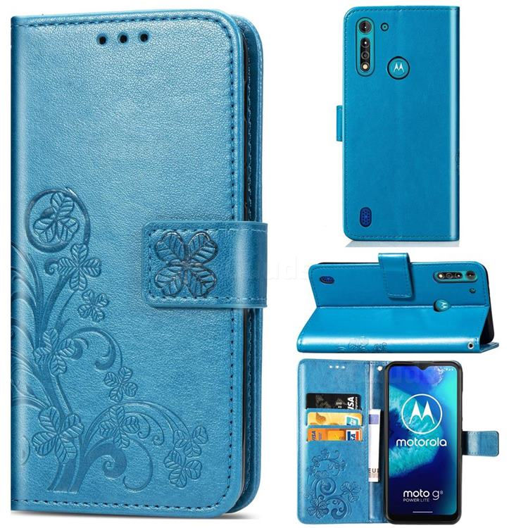 Embossing Imprint Four-Leaf Clover Leather Wallet Case for Motorola Moto G8 Power Lite - Blue