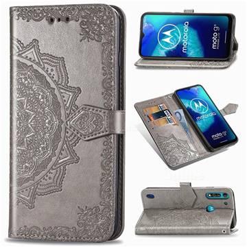 Embossing Imprint Mandala Flower Leather Wallet Case for Motorola Moto G8 Power Lite - Gray