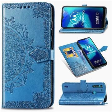 Embossing Imprint Mandala Flower Leather Wallet Case for Motorola Moto G8 Power Lite - Blue