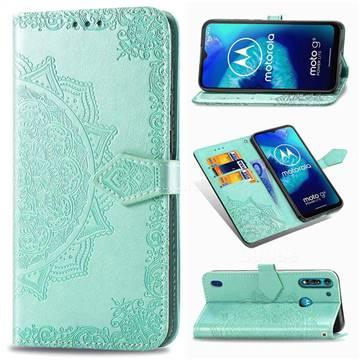 Embossing Imprint Mandala Flower Leather Wallet Case for Motorola Moto G8 Power Lite - Green
