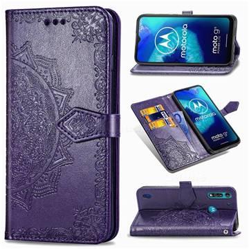 Embossing Imprint Mandala Flower Leather Wallet Case for Motorola Moto G8 Power Lite - Purple