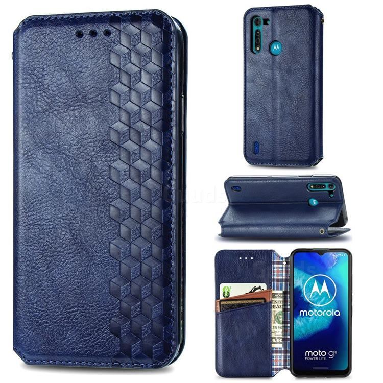 Ultra Slim Fashion Business Card Magnetic Automatic Suction Leather Flip Cover for Motorola Moto G8 Power Lite - Dark Blue