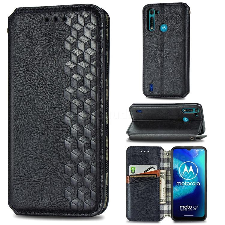 Ultra Slim Fashion Business Card Magnetic Automatic Suction Leather Flip Cover for Motorola Moto G8 Power Lite - Black