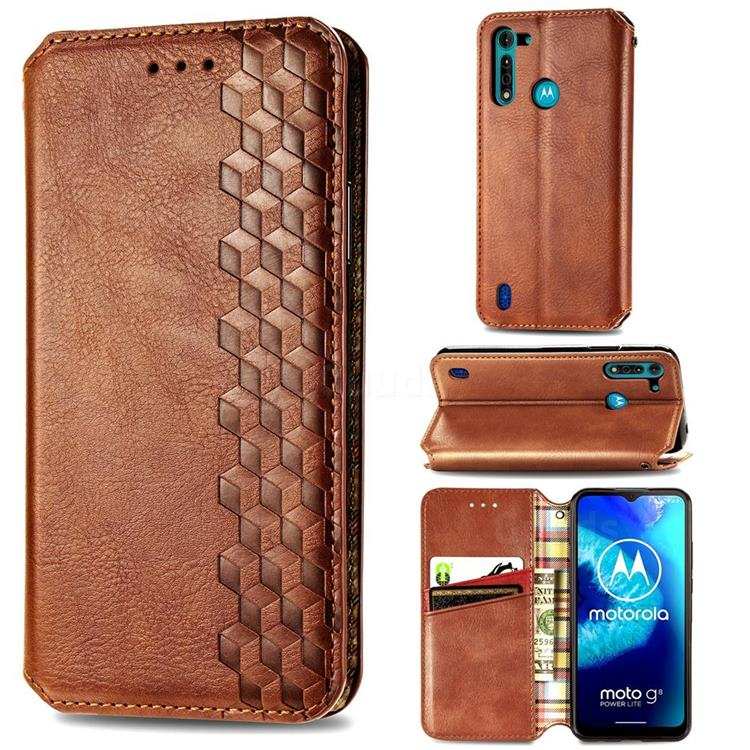 Ultra Slim Fashion Business Card Magnetic Automatic Suction Leather Flip Cover for Motorola Moto G8 Power Lite - Brown