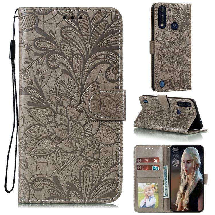 Intricate Embossing Lace Jasmine Flower Leather Wallet Case for Motorola Moto G8 Power Lite - Gray