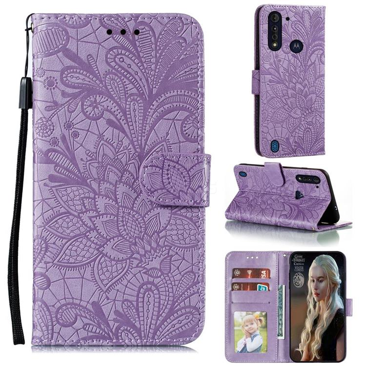 Intricate Embossing Lace Jasmine Flower Leather Wallet Case for Motorola Moto G8 Power Lite - Purple