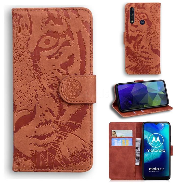 Intricate Embossing Tiger Face Leather Wallet Case for Motorola Moto G8 Power Lite - Brown