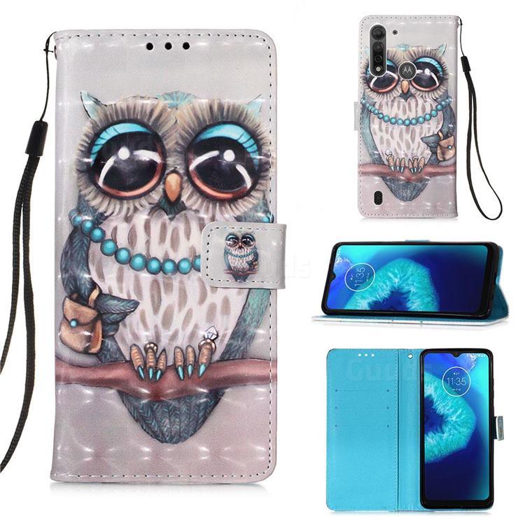 Sweet Gray Owl 3D Painted Leather Wallet Case for Motorola Moto G8 Power Lite