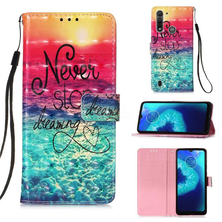 Colorful Dream Catcher 3D Painted Leather Wallet Case for Motorola Moto G8 Power Lite