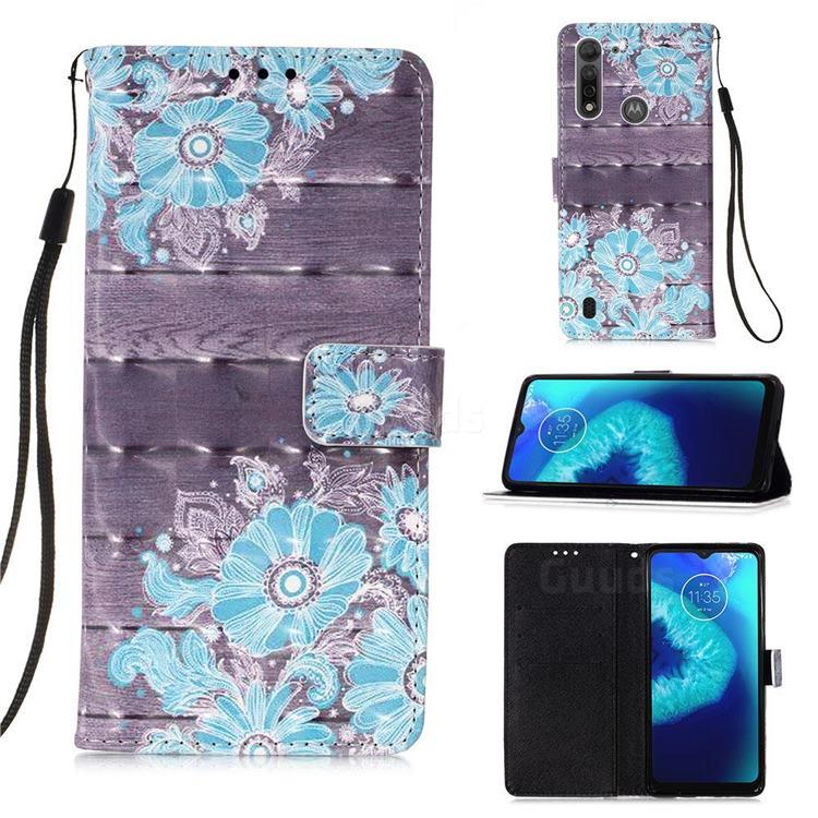 Blue Flower 3D Painted Leather Wallet Case for Motorola Moto G8 Power Lite