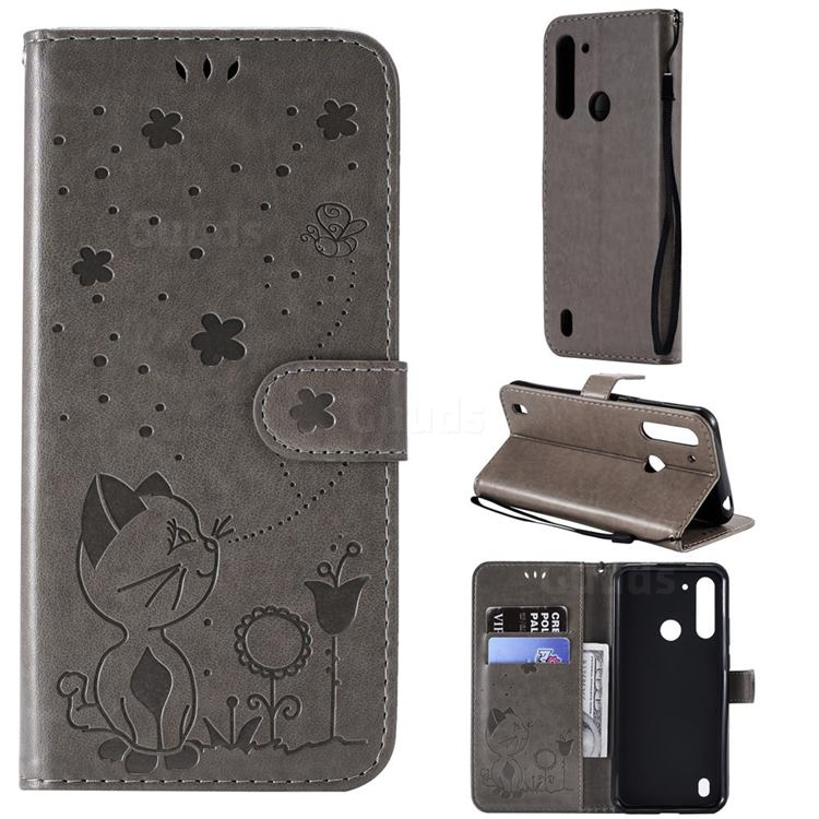 Embossing Bee and Cat Leather Wallet Case for Motorola Moto G8 Power Lite - Gray