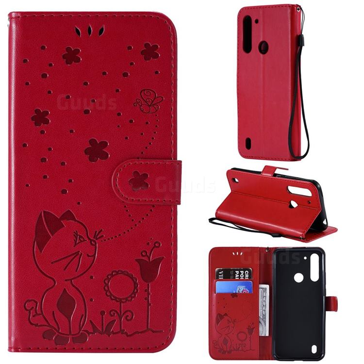 Embossing Bee and Cat Leather Wallet Case for Motorola Moto G8 Power Lite - Red