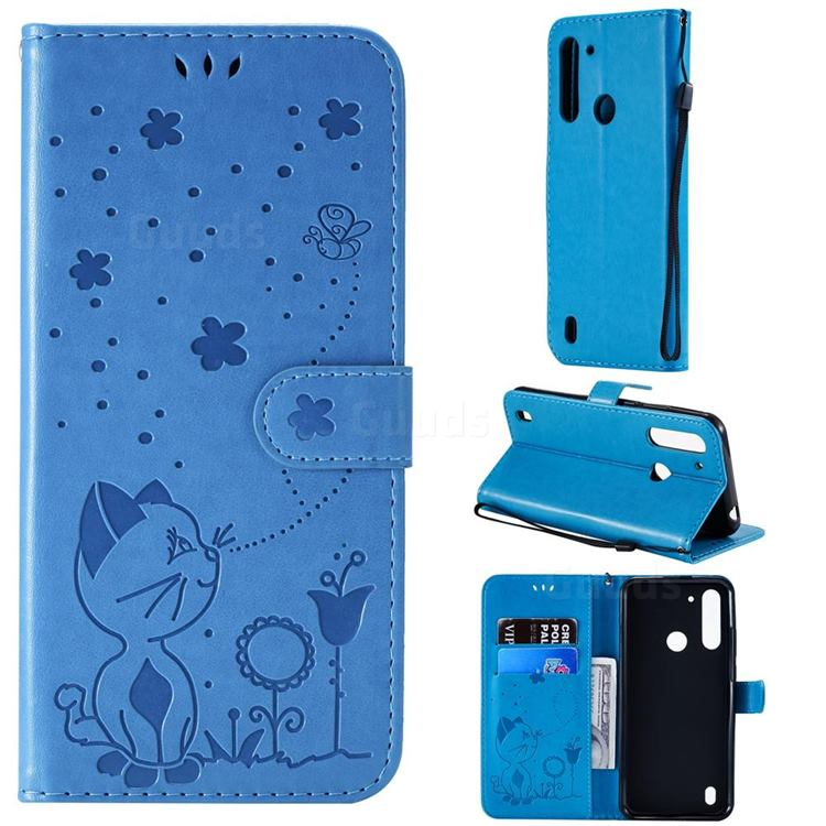Embossing Bee and Cat Leather Wallet Case for Motorola Moto G8 Power Lite - Blue