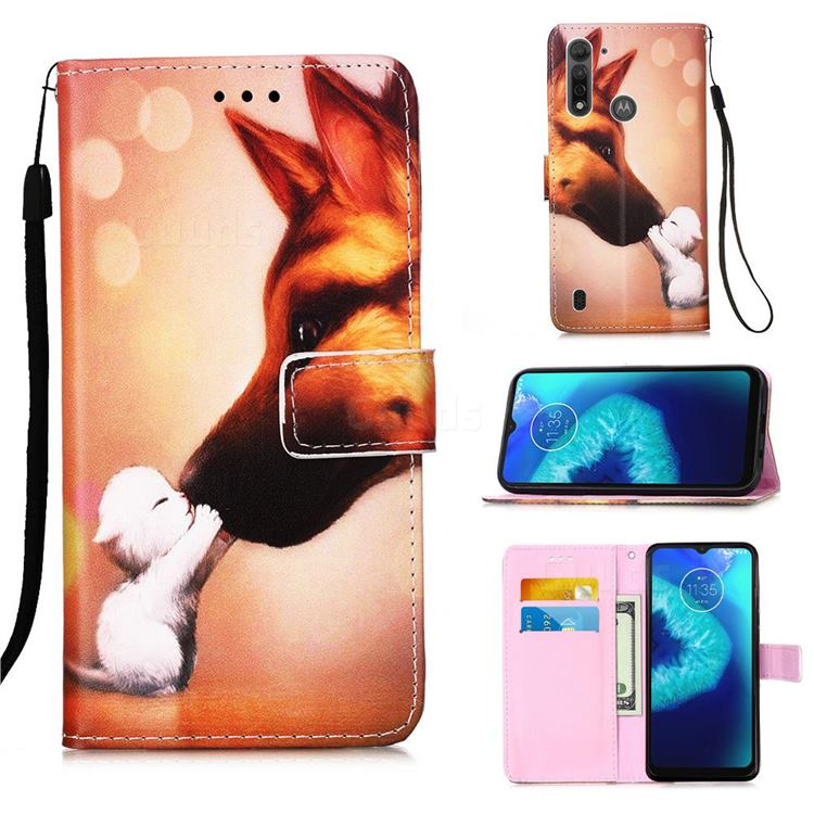 Hound Kiss Matte Leather Wallet Phone Case for Motorola Moto G8 Power Lite