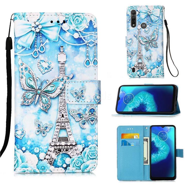 Tower Butterfly Matte Leather Wallet Phone Case for Motorola Moto G8 Power Lite