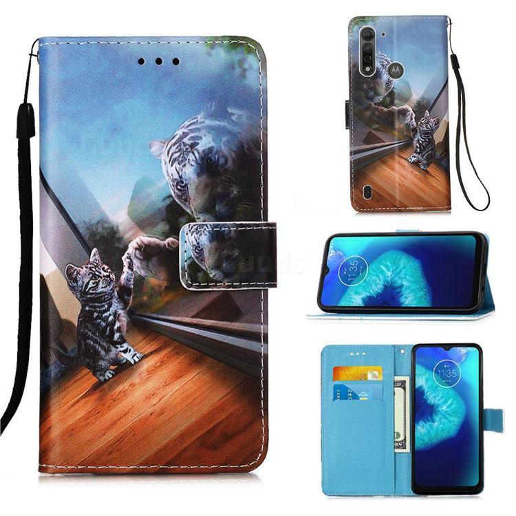 Mirror Cat Matte Leather Wallet Phone Case for Motorola Moto G8 Power Lite