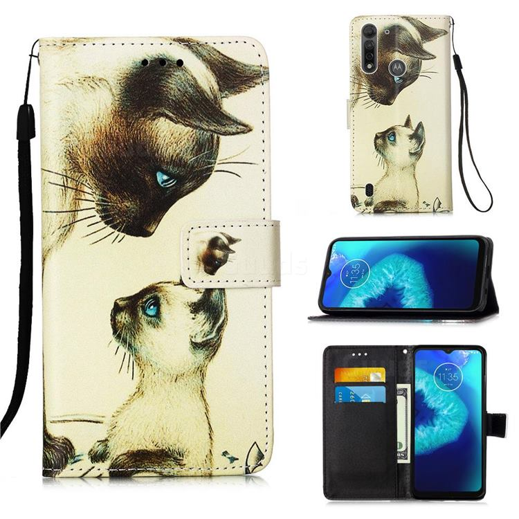 Cat Confrontation Matte Leather Wallet Phone Case for Motorola Moto G8 Power Lite