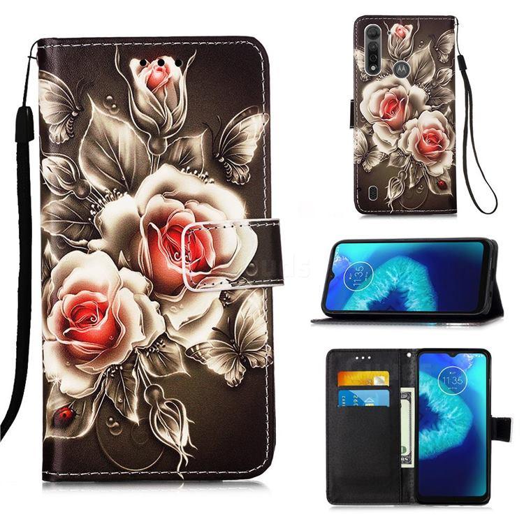 Black Rose Matte Leather Wallet Phone Case for Motorola Moto G8 Power Lite