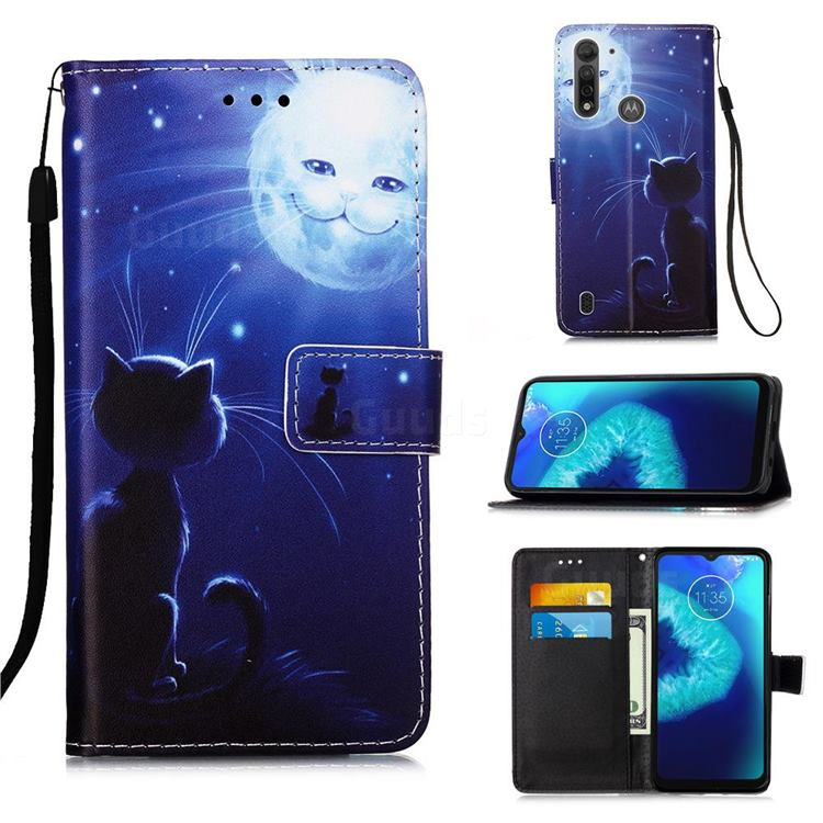 Cat and Moon Matte Leather Wallet Phone Case for Motorola Moto G8 Power Lite