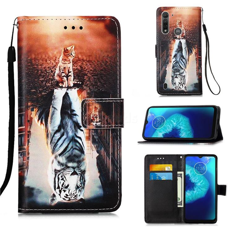 Cat and Tiger Matte Leather Wallet Phone Case for Motorola Moto G8 Power Lite