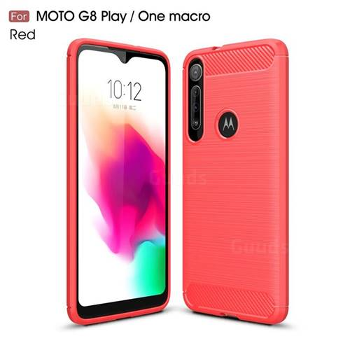 Luxury Carbon Fiber Brushed Wire Drawing Silicone TPU Back Cover for Motorola Moto G8 Play - Red