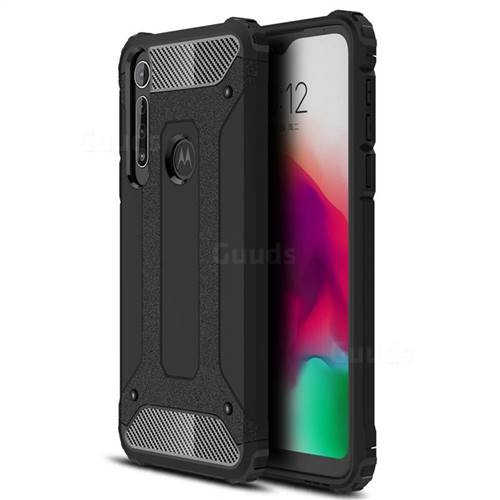 King Kong Armor Premium Shockproof Dual Layer Rugged Hard Cover for Motorola Moto G8 Play - Black Gold