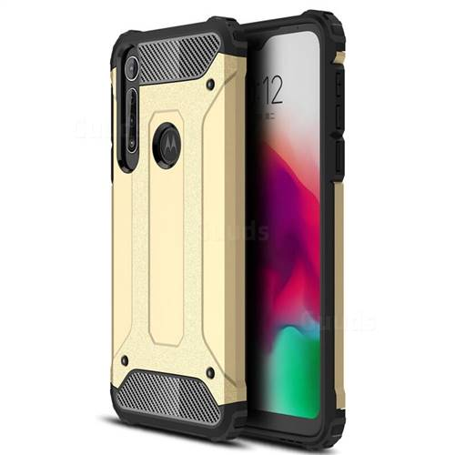 King Kong Armor Premium Shockproof Dual Layer Rugged Hard Cover for Motorola Moto G8 Play - Champagne Gold
