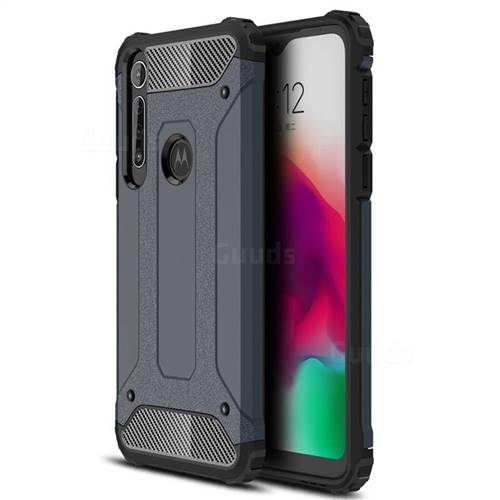 King Kong Armor Premium Shockproof Dual Layer Rugged Hard Cover for Motorola Moto G8 Play - Navy