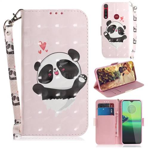 Heart Cat 3D Painted Leather Wallet Phone Case for Motorola Moto G8 Play