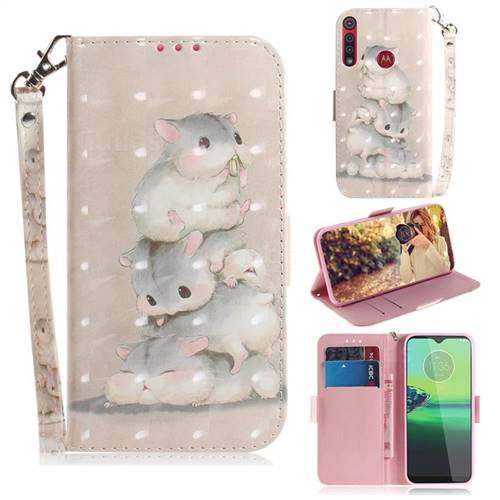 Three Squirrels 3D Painted Leather Wallet Phone Case for Motorola Moto G8 Play