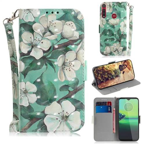 Watercolor Flower 3D Painted Leather Wallet Phone Case for Motorola Moto G8 Play