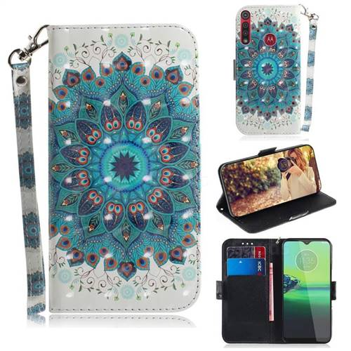 Peacock Mandala 3D Painted Leather Wallet Phone Case for Motorola Moto G8 Play