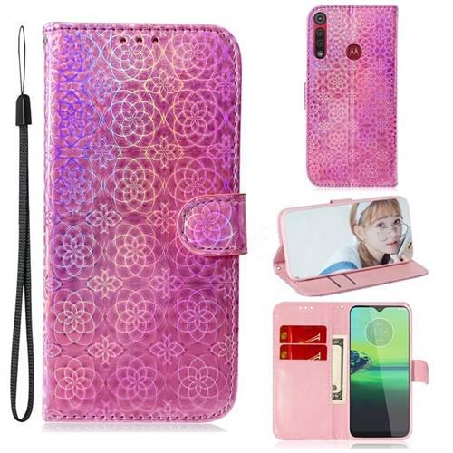 Laser Circle Shining Leather Wallet Phone Case for Motorola Moto G8 Play - Pink