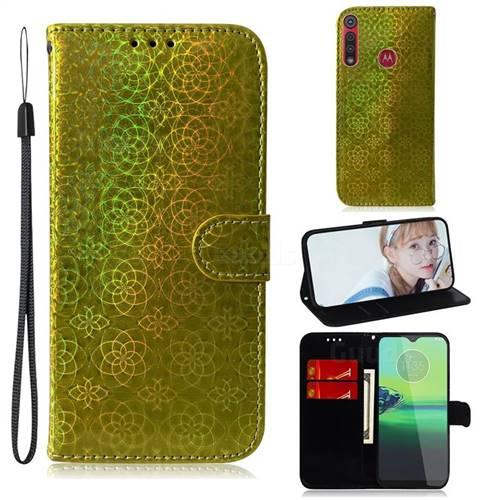 Laser Circle Shining Leather Wallet Phone Case for Motorola Moto G8 Play - Golden