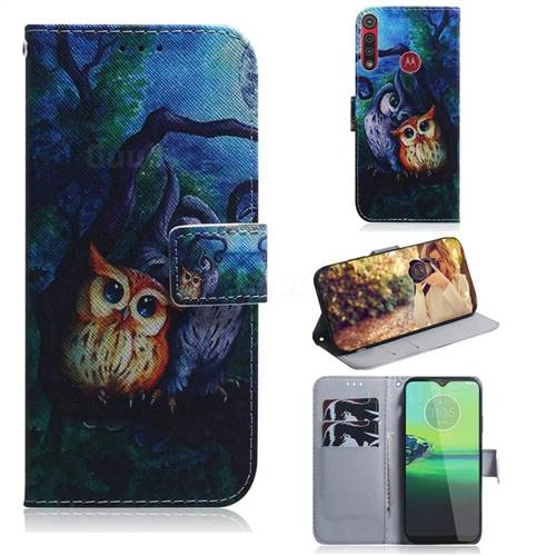 Oil Painting Owl PU Leather Wallet Case for Motorola Moto G8 Play